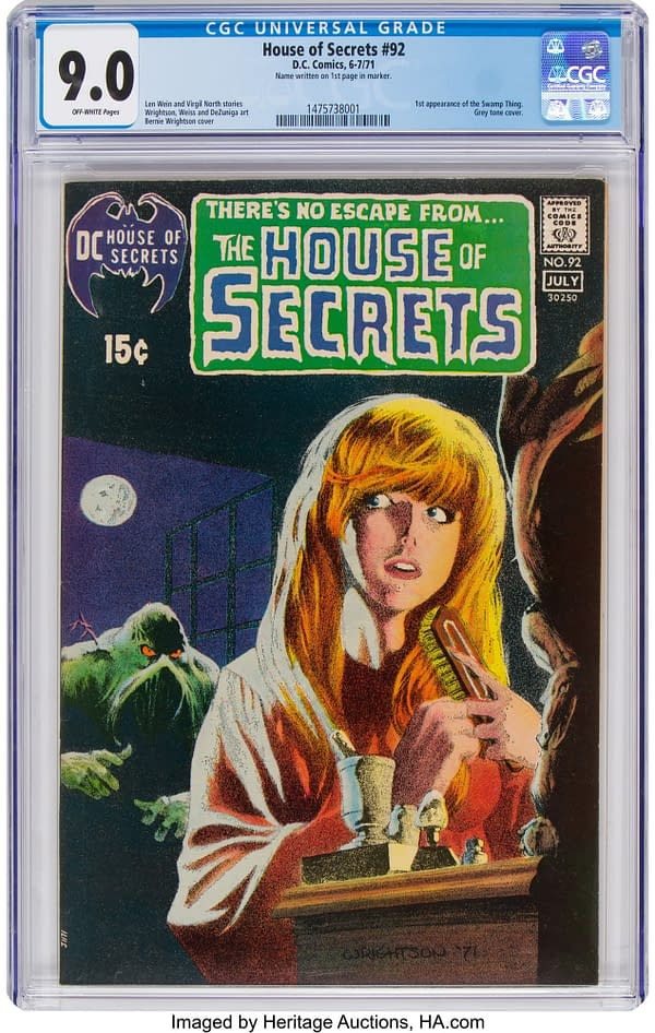 Swamp Thing on the cover of House of Secrets #92, artwork by Bernie Wrightson.