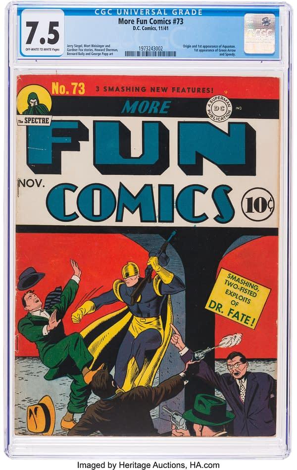 More Fun Comics #73, the first appearance of Green Arrow and Aquaman, DC Comics 1941.