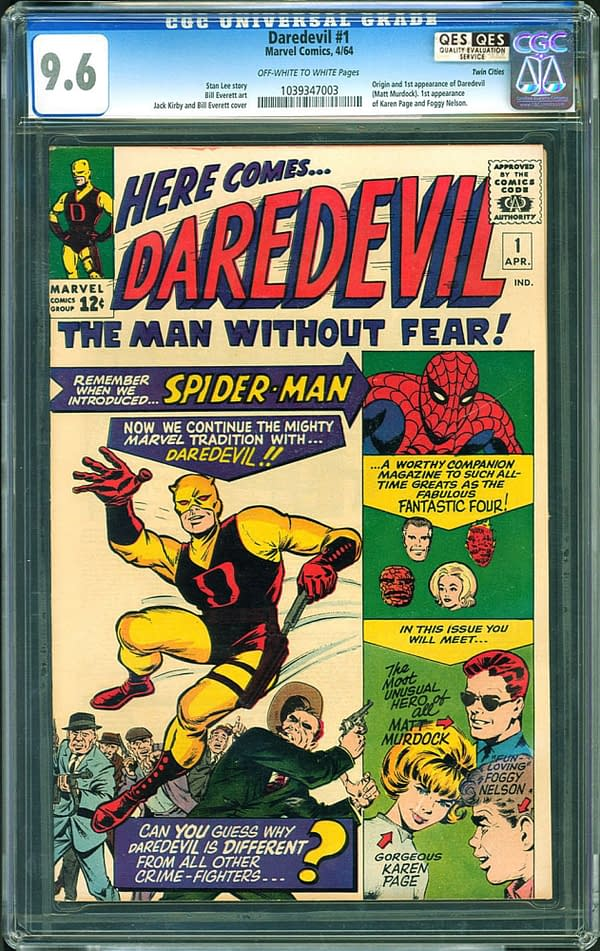 How Much Will A Daredevil #1 9.6 Go For After Last Week's Sale?