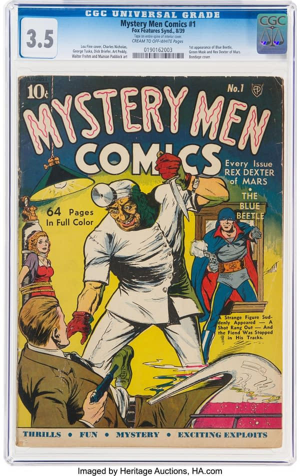 Mystery Men Comics #1 CGC 3.5, 1939, Fox Features Syndicate.