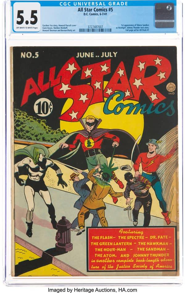 All-Star Comics #5 featuring Hawkgirl, DC Comics 1941.