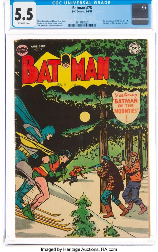Batman #78 featuring Martian Manhunter, DC Comics, 1953.