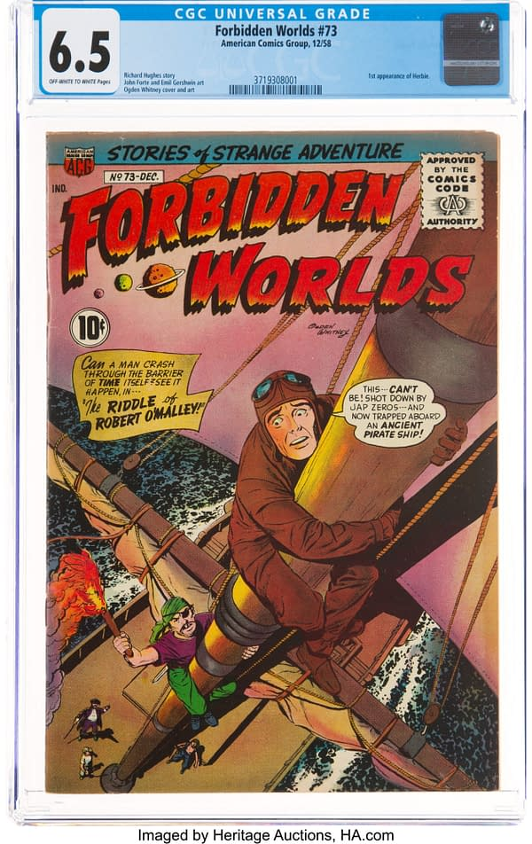 Forbidden Worlds #73 CGC 6.5 cover by Ogden Whitney, first appearance of Herbie, 1958 ACG.