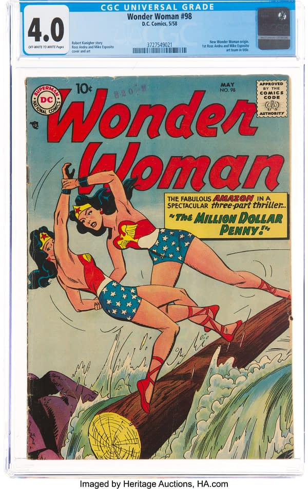 Wonder Woman #98 CGC 4.0 Silver Age Origin Reboot, cover by Ross Andru and Mike Esposito, DC Comics 1958.
