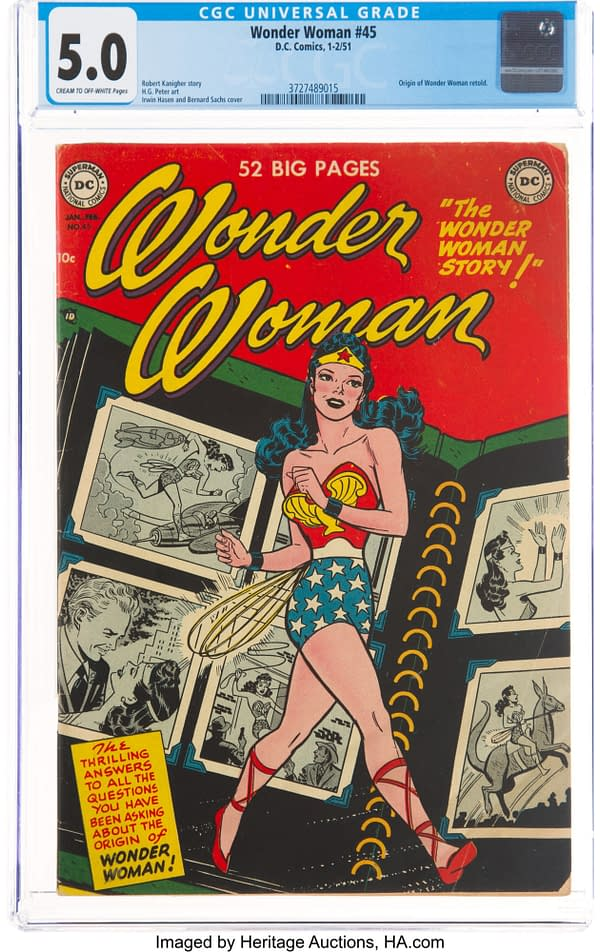 Wonder Woman #45 cover by Irwin Hasen, DC Comics 1951.