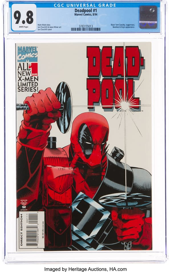 Cover of Marvel's Deadpool #1, CCG slabbed and graded 9.8, now available to bid on. Credit: Heritage