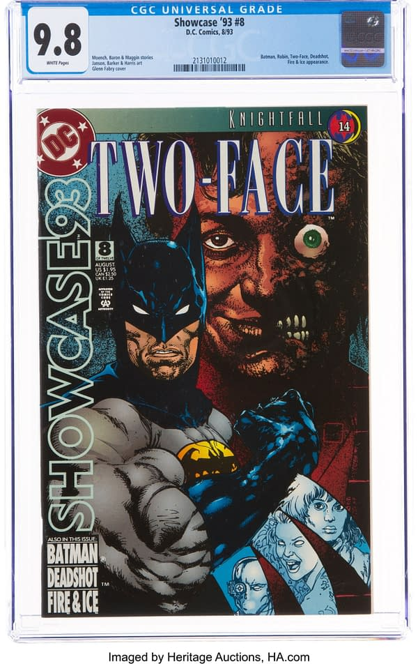 CGC slabbed and graded 9.8 copy. The front cover of Showcase '93 #8 with the Knightfall branding. Credit: DC Comics