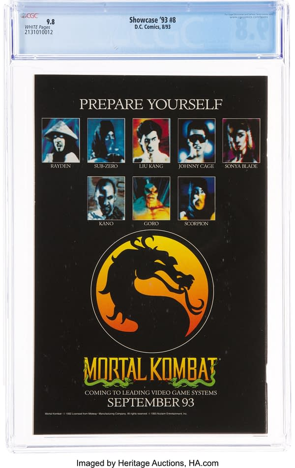 A Mortal Combat ad on the back cover of this 9.8 graded copy of Showcase '93 #8. Credit: DC Comics