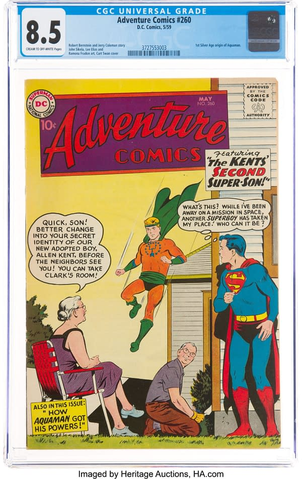 Adventure Comics #260 featuring the Silver Age origin of Aquaman. Superboy cover by Curt Swan, DC Comics 1959.