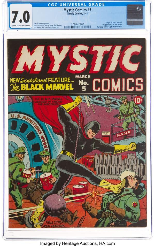 Mystic Comics #5 cover by Alex Schomburg, Marvel 1941.