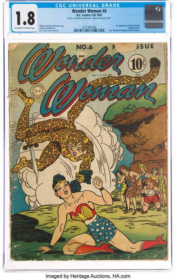 Wonder Woman #6 featuring Cheetah interior page, story by William Marson, art by H.G. Peter, DC Comics 1943.