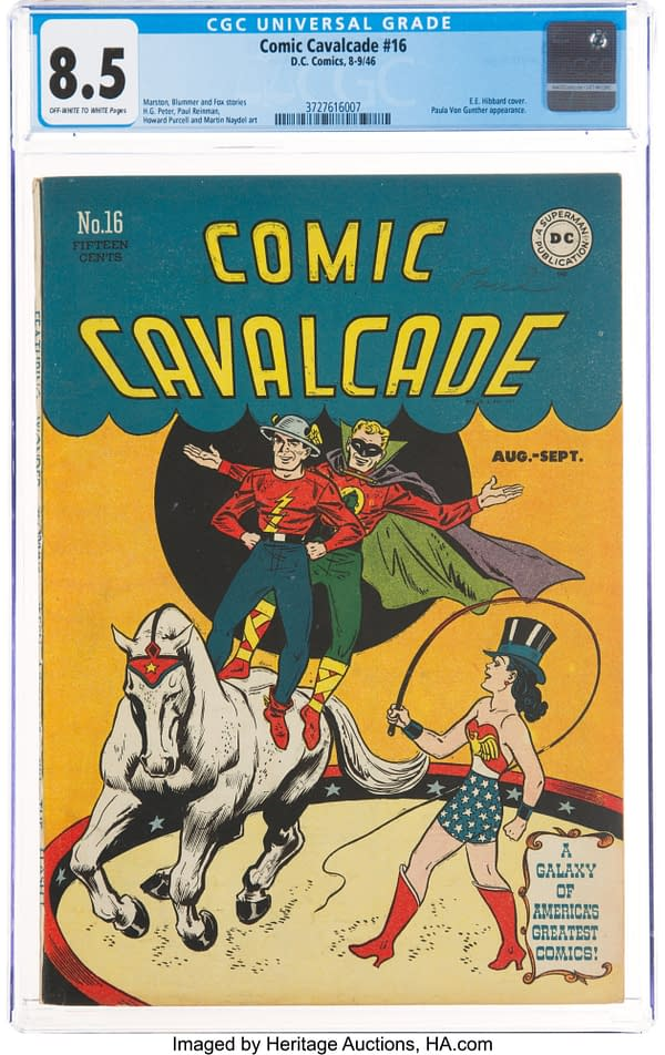 Comic Cavalcade #16 (DC, 1946) with Paula von Gunther appearance.