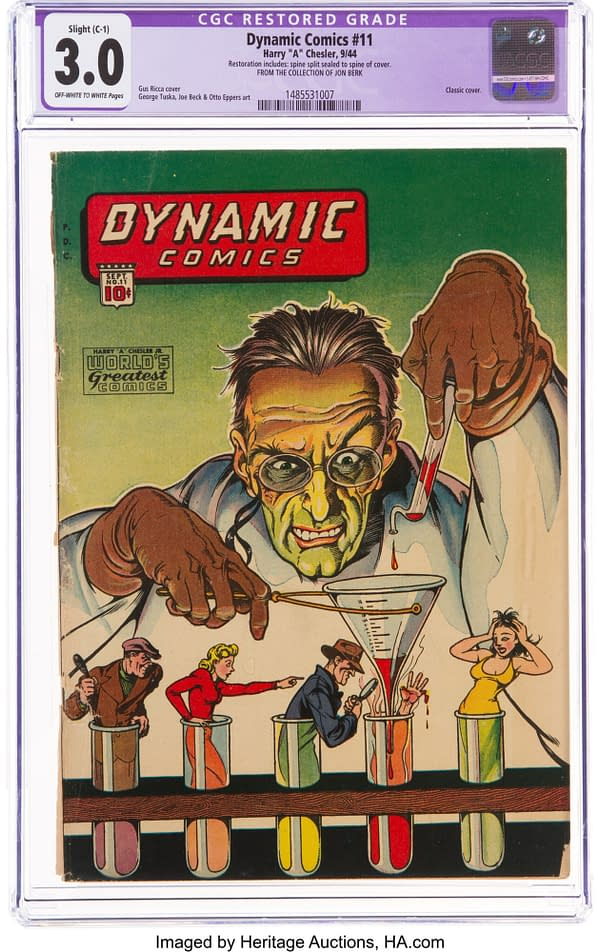 Dynamic Comics #11, cover art by Gus Ricca, (Chesler, 1944)