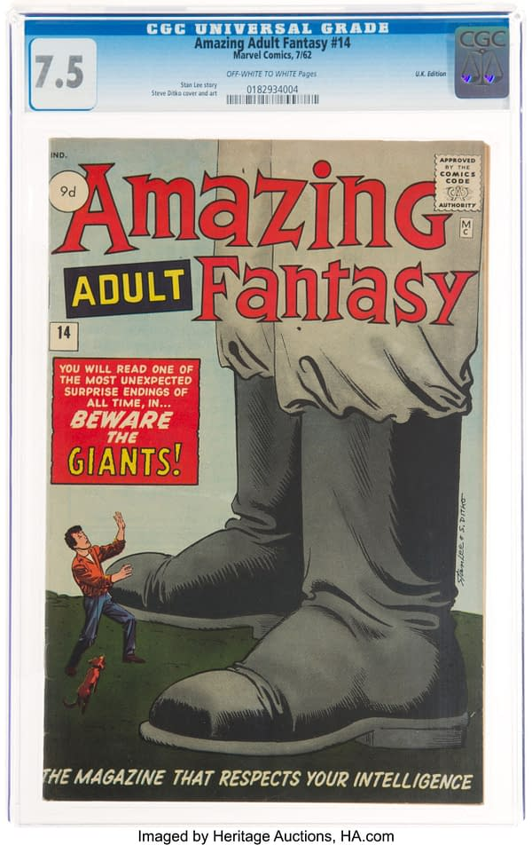 """Amazing Adult Fantasy #14, featuring the Mutant story """"The Man in the Sky"""", Marvel, 1962."""