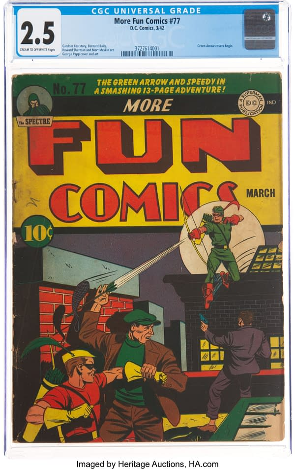 More Fun Comics #77 (DC, 1942) featuring the first Green Arrow cover by George Papp.