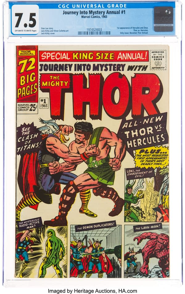 Hercules vs Thor in Journey into Mystery Annual #1, Up for Auction
