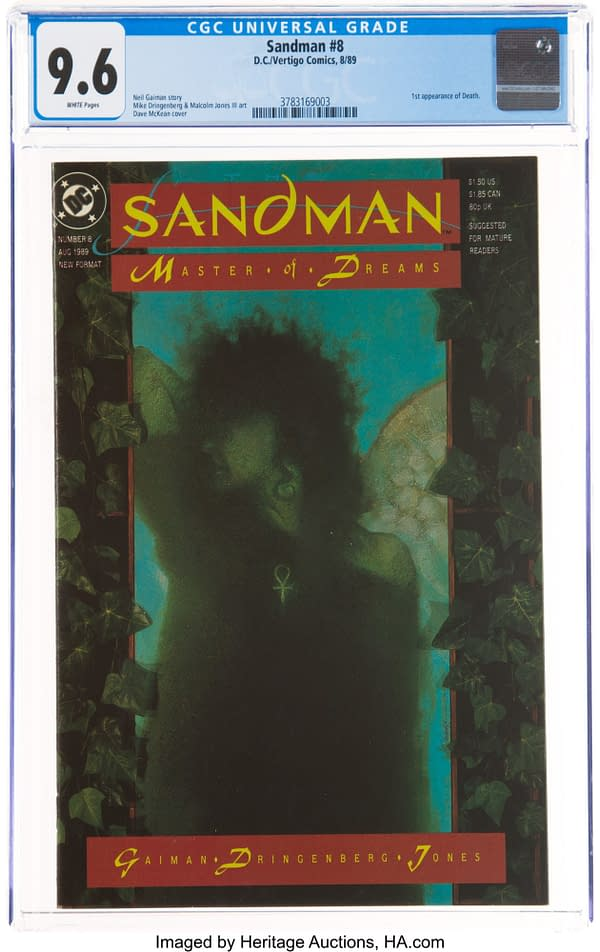 The Sound Of Her Ker-Chings- First Death In Sandman #8 9.8 At Auction