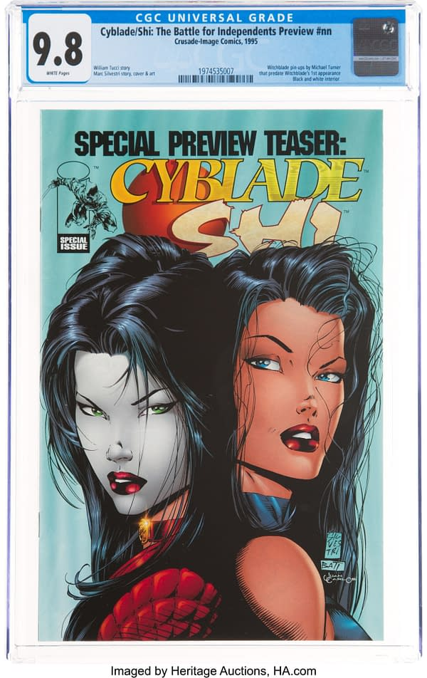 Witchblade's first pin-up appearance, Cyblade / Shi preview at auction
