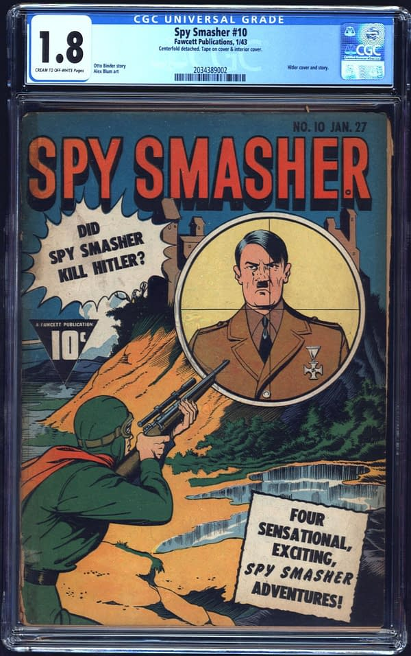 The copy of Spy Smasher #10 up for auction on ComiConnect. Image Credit: ComicConnect