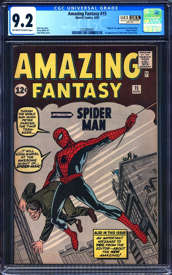 Spider-Man 1st Appearance Amazing Fantasy 15 CGC 9.2 Hits $598,000