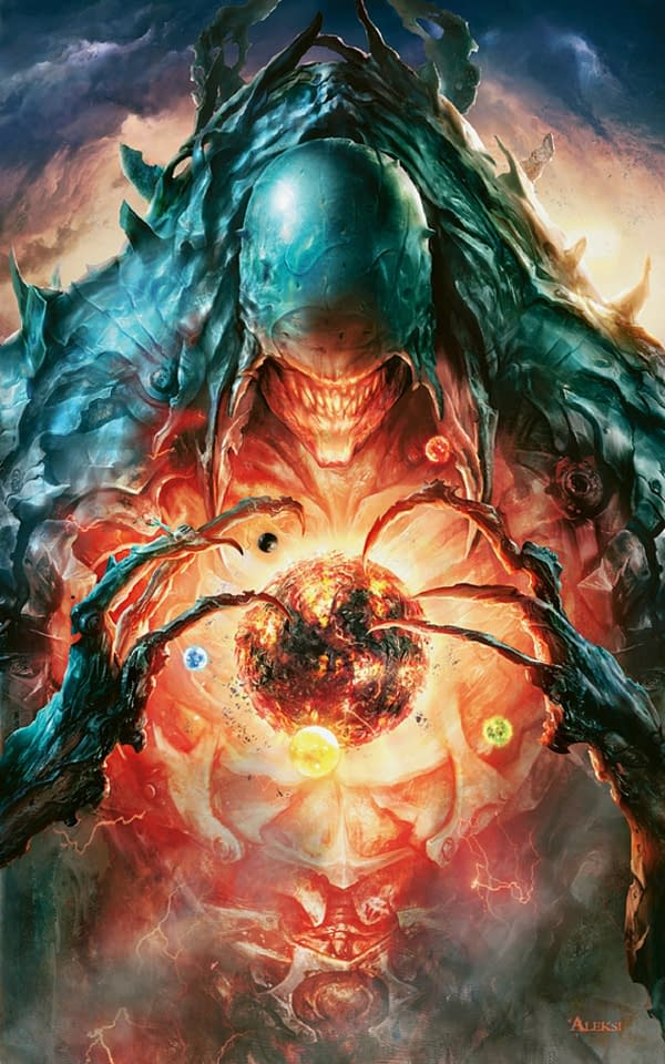 The key art from 2011's New Phyrexia set for Magic: The Gathering. Illustrated by artist Aleksi Briclot.