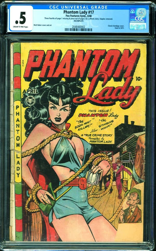 The copy of Phantom Lady #17 that is currently up for auction on ComicConnect. Image Credit: ComicConnect