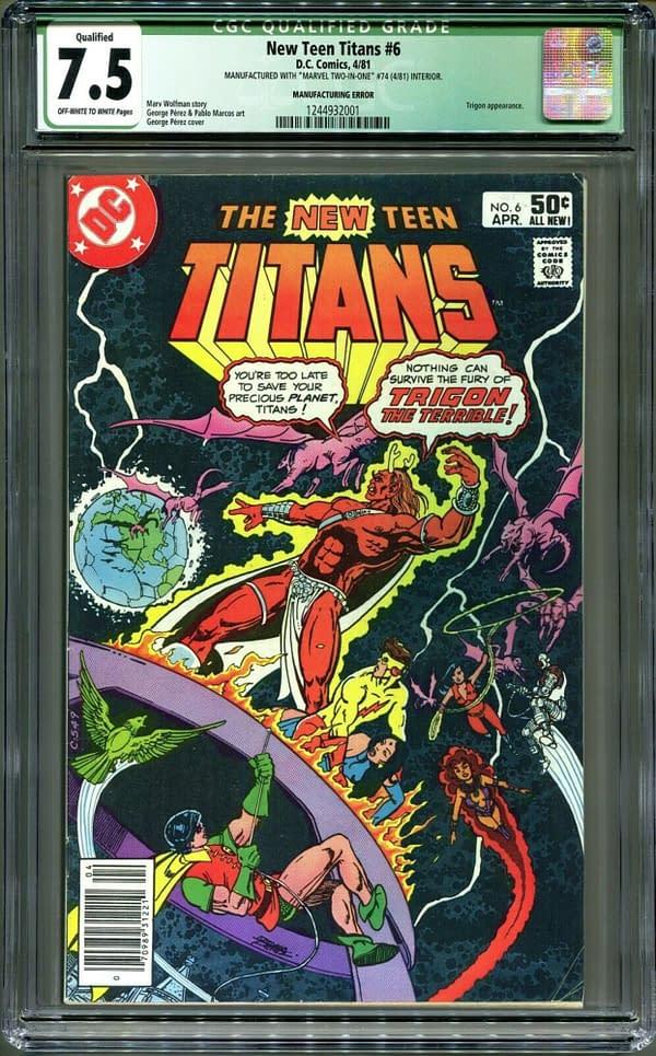 A DC Comic inside a Marvel Comic on eBay