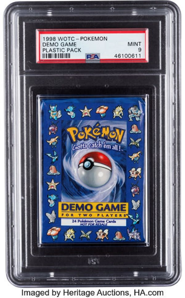 The front of the Demo Pack from the Pokémon Trading Card Game originally produced by Wizards of the Coast in 1998. This item is currently available at Heritage Auctions!