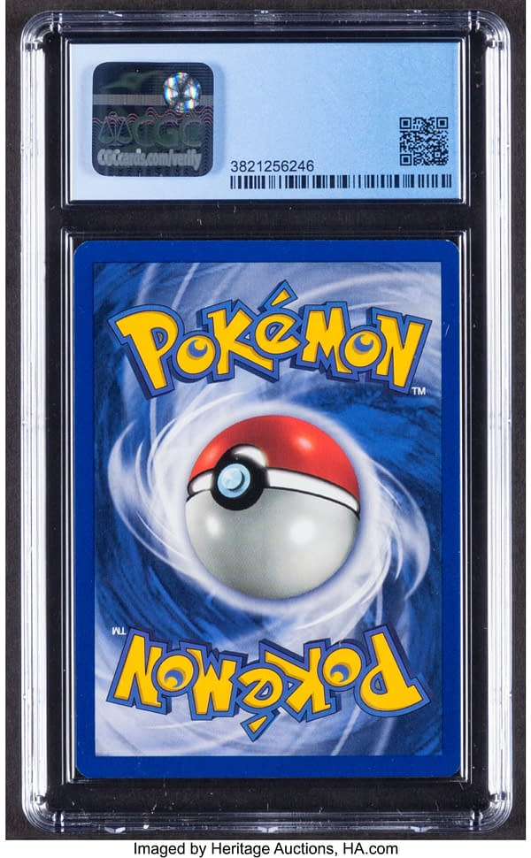 The back face of the Black Star Promo Mewtwo card from the Pokémon TCG. Currently available on auction at Heritage Auctions' website.