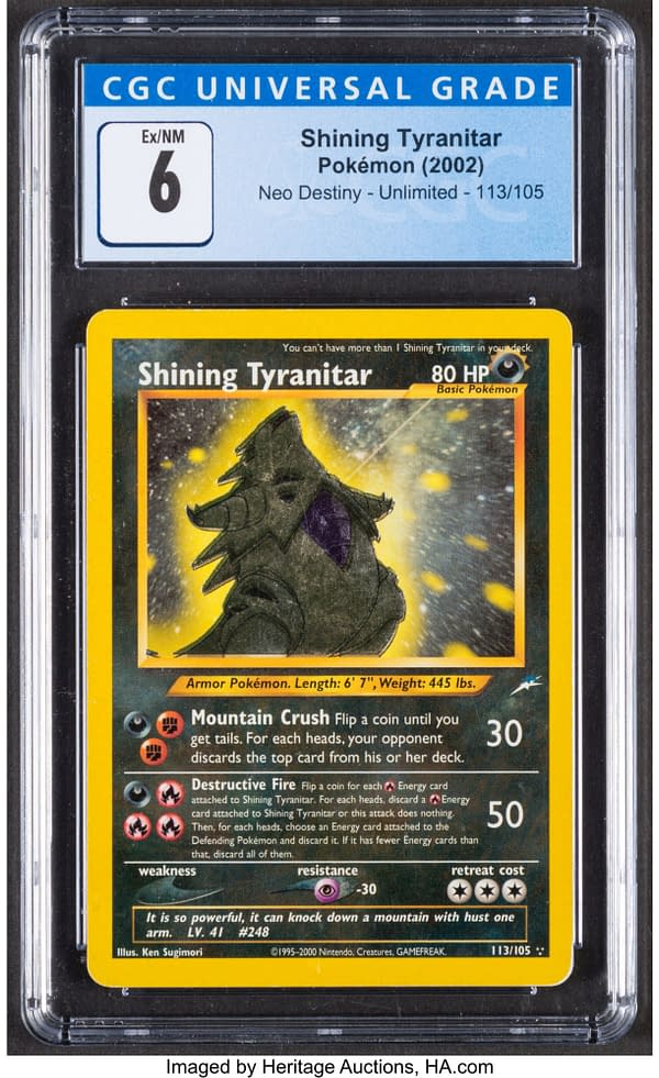 The front face of the graded copy of Shining Tyranitar from the Neo Destiny set for the Pokémon TCG. Currently available at auction on Heritage Auctions' website.