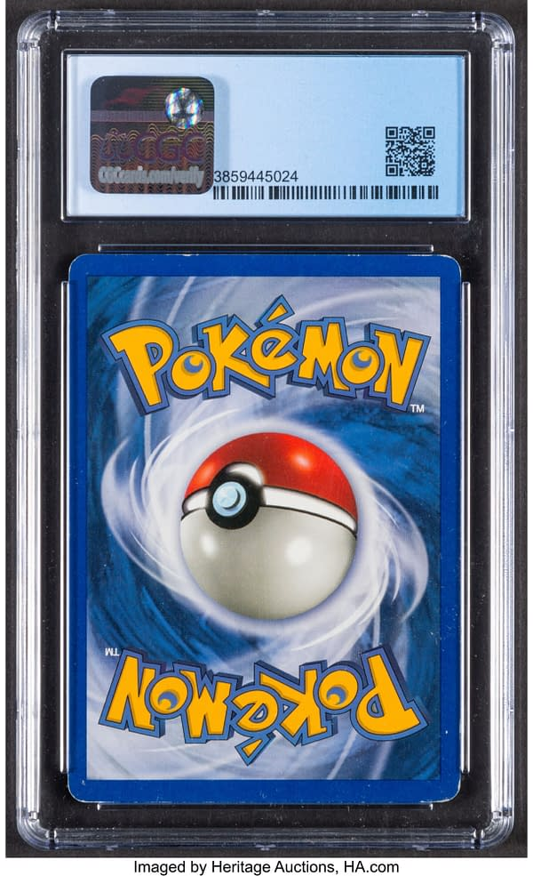The back face of the graded copy of Shining Tyranitar from the Neo Destiny set for the Pokémon TCG. Currently available at auction on Heritage Auctions' website.