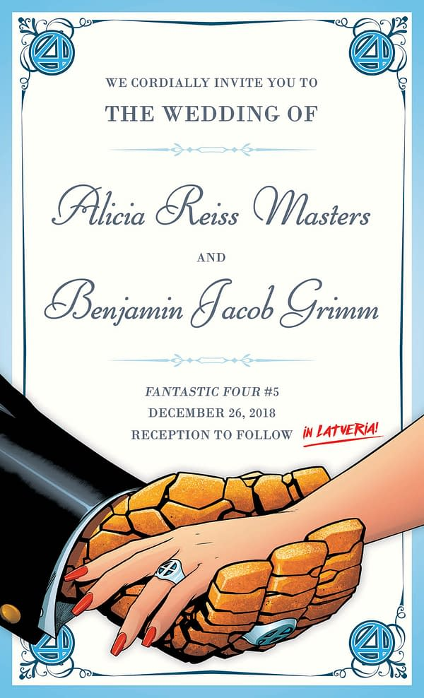 Sara Pichelli Won't Be at the Wedding of Ben Grimm and Alicia Masters in Fantastic Four #5