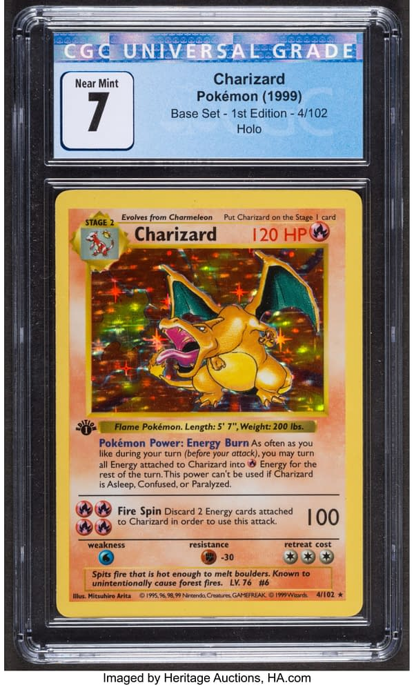 The front face of the iconic Charizard card from the Pokémon TCG's Base Set, shown here at a certified grade of 7 in 1st Edition. Currently available at auction on Heritage Auctions' website.