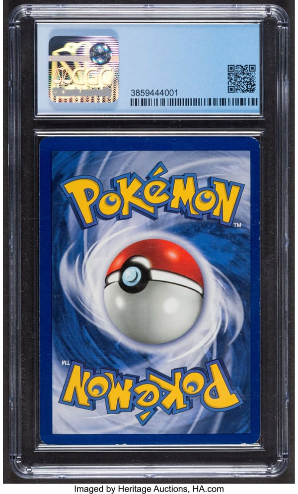 The back face of the graded Charizard from the Pokémon TCG's Base Set, shown here at a certified grade of 7 in 1st Edition. Currently available at auction on Heritage Auctions' website.