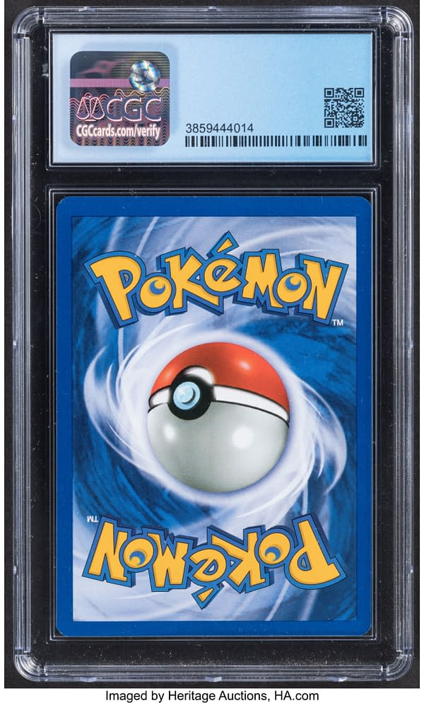 The back face of the copy of Lugia from the Pokémon TCG expansion set known as Neo Genesis. Currently available on auction at Heritage Auctions' website.