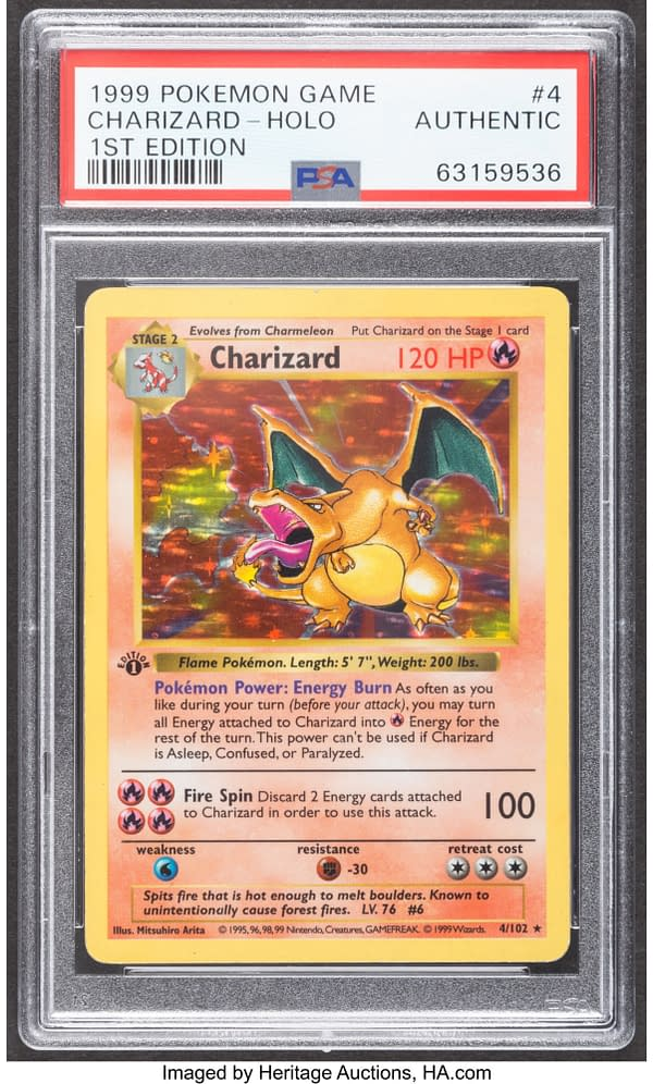 The front face of the graded 1st Edition copy of Charizard from the Pokémon TCG's Base Set. Currently available at auction on Heritage Auctions' website.