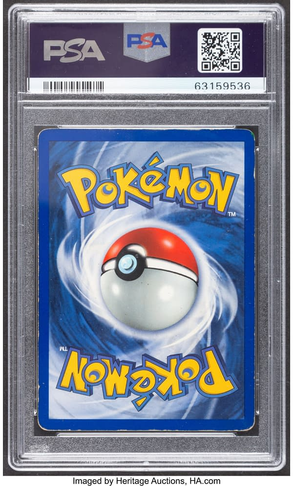 The back face of the graded 1st Edition copy of Charizard from the Pokémon TCG's Base Set. Currently available at auction on Heritage Auctions' website.