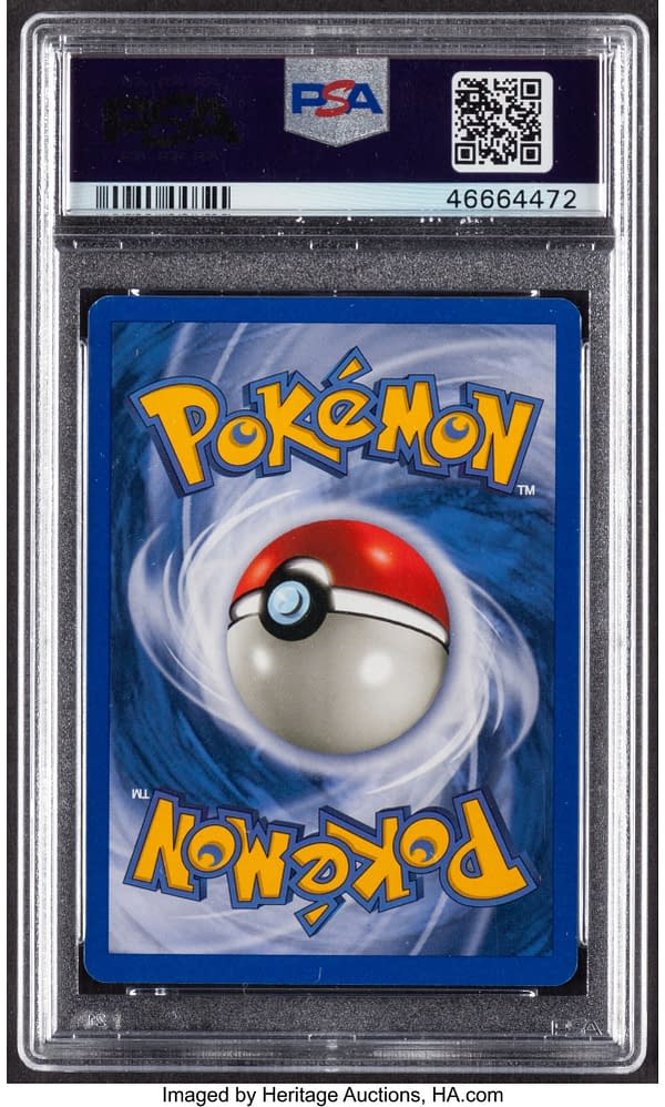 The back face of the graded copy of Shining Steelix from the Neo Destiny expansion set for the Pokémon TCG. This card is currently available at auction on Heritage Auctions' website.