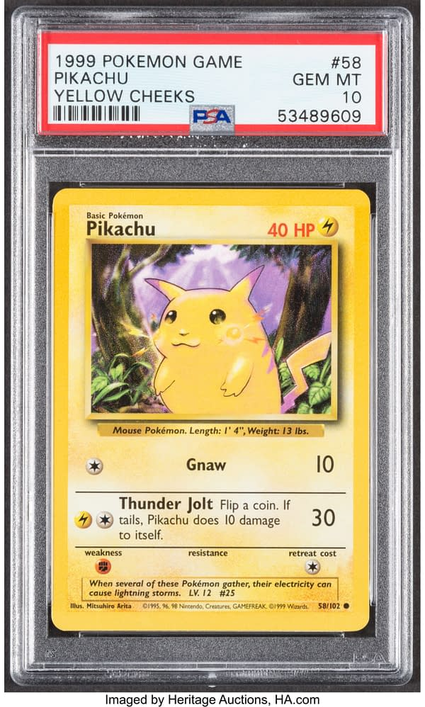 The front face of the Gem Mint graded copy of Pikachu with yellow cheeks, from the Pokémon TCG. Currently available at auction on Heritage Auctions' website.