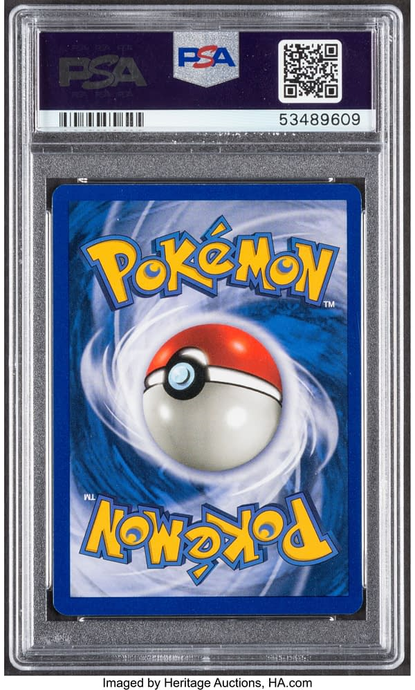 The back face of the Gem Mint graded copy of Pikachu with yellow cheeks, from the Pokémon TCG. Currently available at auction on Heritage Auctions' website.