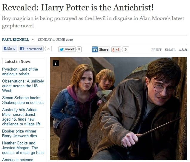 The League Of Extraordinary Gentlemen, Harry Potter, The Anti-Christ And The Independent On Sunday