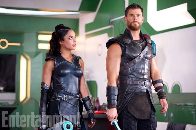 Tessa Thompson as Valkyrie in the upcoming Thor: Ragnarok. With Boob Armor.