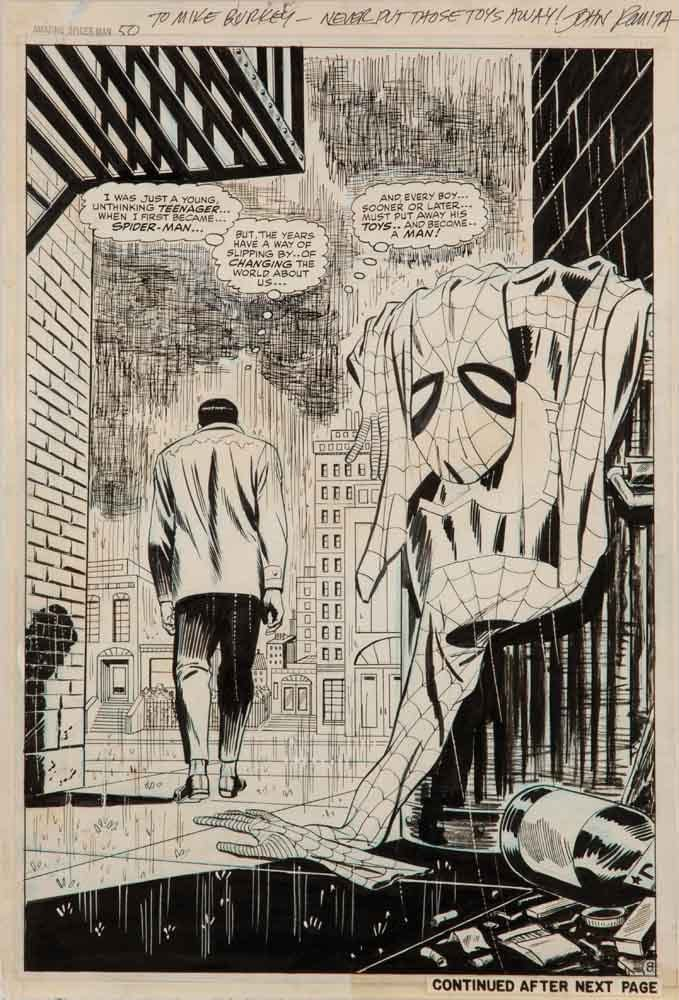 Iconic Spider-Man #50 Splash Page by Romita Sells for Record $88,500