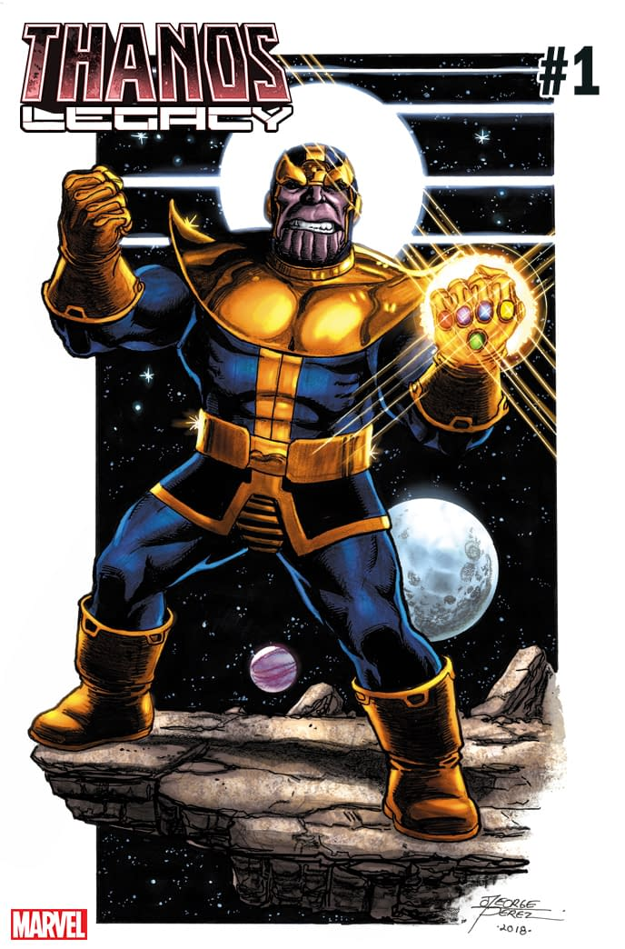 Thanos Dances on Thanos Legacy #1 Variant by George Perez