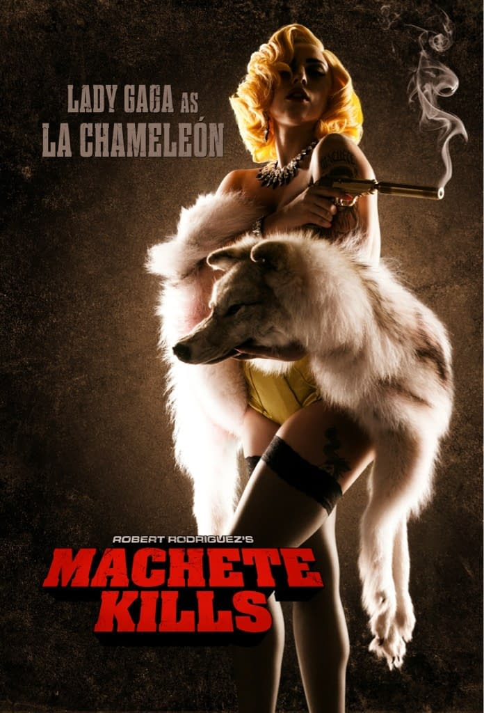 New Character Poster For Robert Rodriguez's Machete Kills Features Lady Gaga In Her Acting Debut