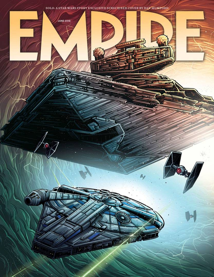 The Falcon Races Away from a Star Destroyer on This Empire Cover for Solo: A Star Wars Story