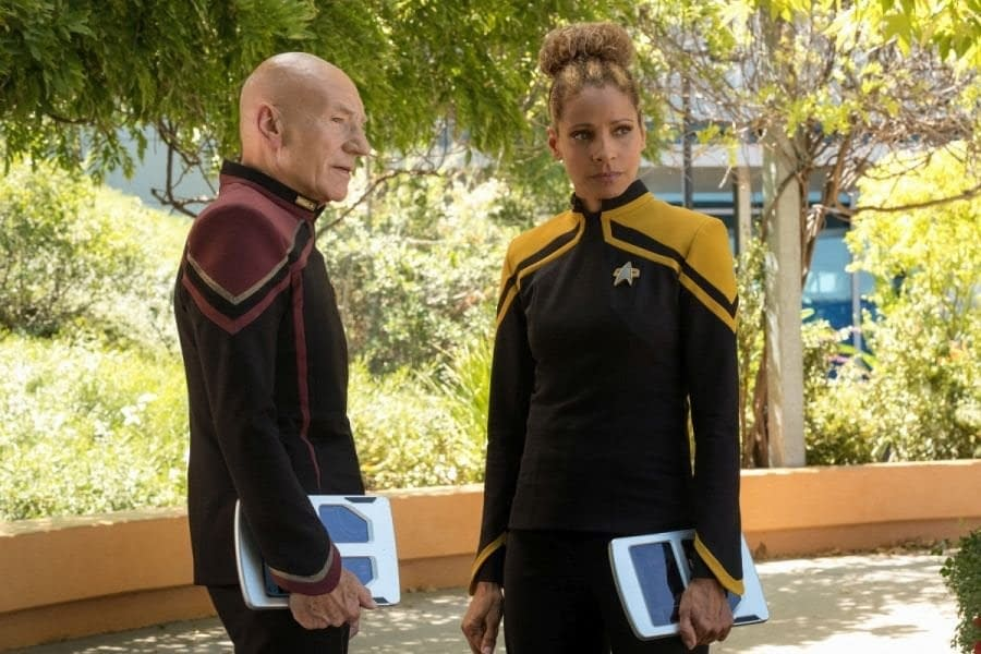 Patrick Stewart and Michelle Hurd in Picard