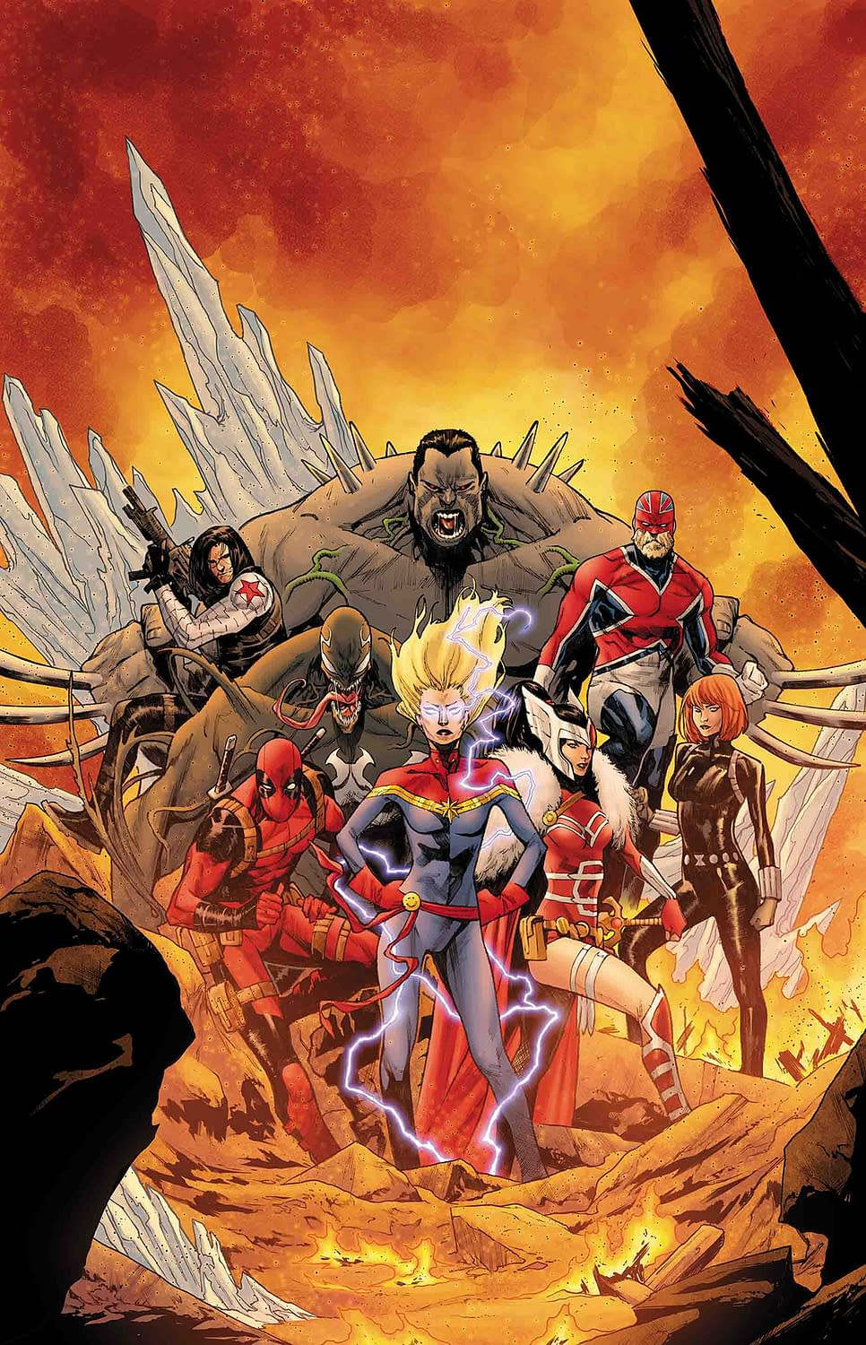 Deadpool Takes Jumping the Shark to the Next Level - War of the Realms: Strikeforce: War Avengers #1 Preview