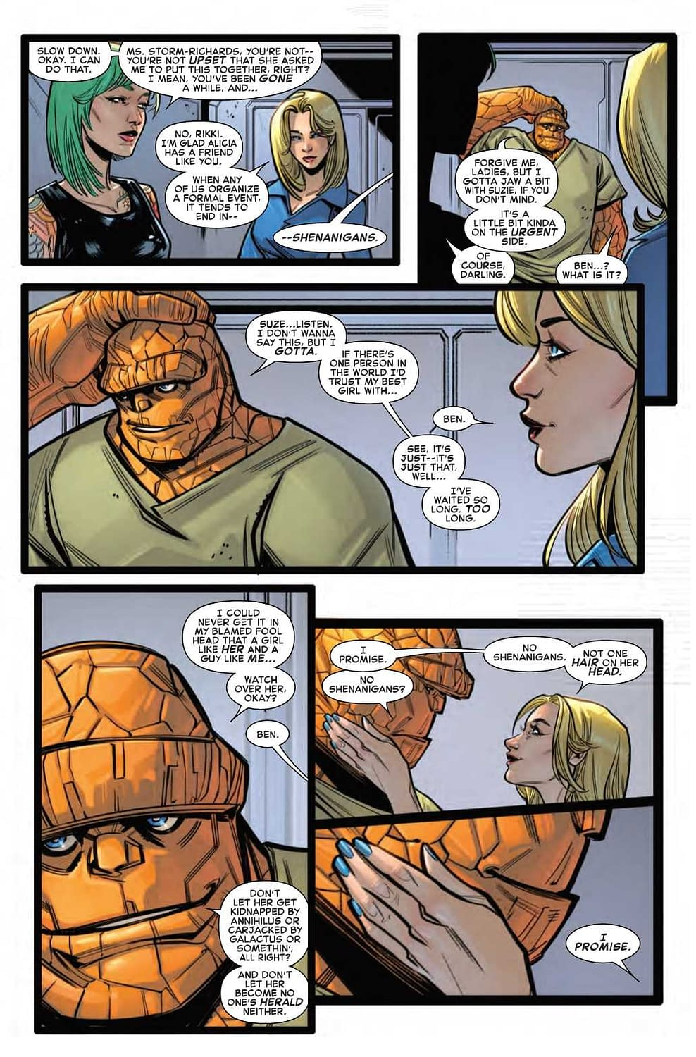 Ben Doesn't Want Any Shenanigans at Alicia's Bachelorette Party in Next Week's Fantastic Four Wedding Issue
