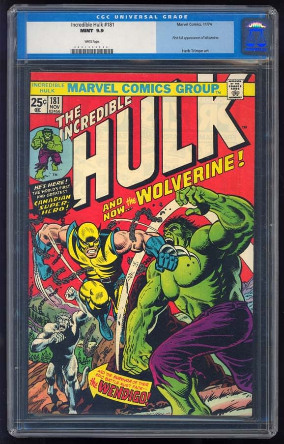 Best Copy Of First Appearance Of Wolverine In Incredible Hulk 181 Goes For $150,000